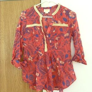 Anthropologie Maeve Floral Blouse